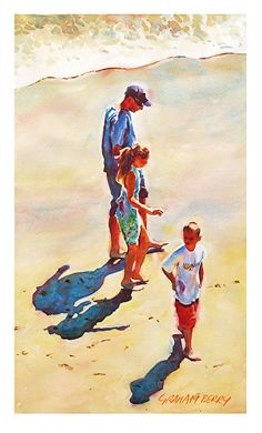 "Walking on the wet sand by Graham Berry Watercolor ~ 21"" x 12"""