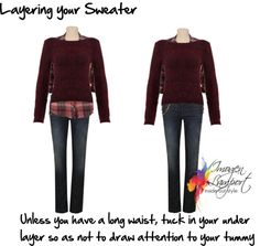 layering your sweater. If you choose to style it with a pullover – ensure that you don't have the hem of the top sticking out beneath the pullover, as this will add an additional, unflattering horizontal line around your stomach. Short Legs Long Torso, Dressing Your Body Type, Inside Out Style, Womens Fashion For Work, Dress For You, Plus Size Fashion, Petite Fashion, Style Guides, Fashion Forward