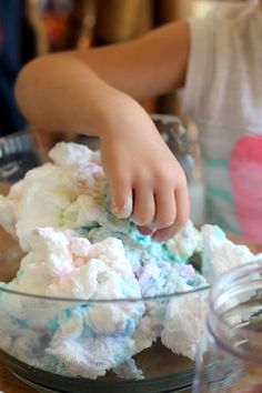 Sensory Art Play - also great for talking about weather: Puffy Rainbow Clouds via Twodaloo #preschool #efl (repinned by Super Simple Songs)