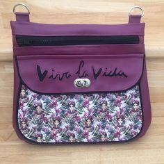Sac Polka violet à coton fleuri cousu par Meylia - Patron Sacôtin