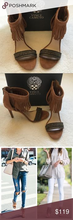 """Vince Camuto Trumen Winter Camel Fringe Heels 8 You cannot go wrong with a sprinkle of diverse embellishment which coats the vamp of the Trumen shoe. A brush of fringe hanging from the ankle strap adds festive flair to this posh heel. This suede sandal is one shoe everyone will be talking about.  4"""" heel  3 1/2"""" shaft Back zip closure Leather upper/synthetic lining and sole  Size - 8  New in the Box Vince Camuto Shoes Heels"""