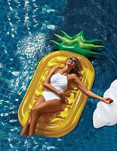 3 BEES® Giant Pool Floats,Best Swimming Pool Pineapple Shaped Inflatable Raft for Adults and Kids Pool Loungers,Inflatable Lounge Bed with Free Inflator Pump