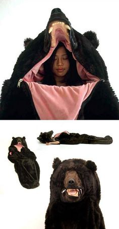 Haha need this! Rugged camping gear - lol a great way to get shot to death whilst camping! Do they call this a suicide sleeping bag? Where i go camping u dont wear a bear costume, u wear bright orange! Even when its not hunting season! Bear Sleeping Bags, Take My Money, Looks Cool, Camping Gear, Outdoor Camping, Camping Items, Camping Tools, Camping Survival, Camping Products