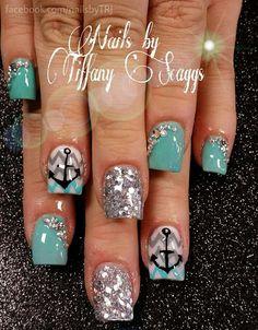 Acrylic nails by Tiffany @ A New Day Salon & Spa Diy Nails, Cute Nails, Pretty Nails, Manicure, Jasmine Nails, Nautical Nails, Fingernail Designs, Beach Nails, Powder Nails