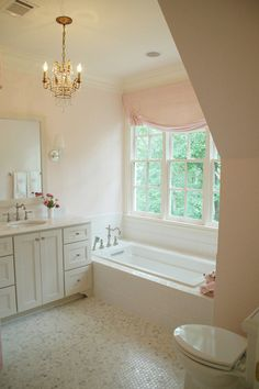 floor tile, tub surround, furniture legs & door style on console