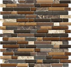 """Dark / Light Emperador Blend • Stone Medley Collection by Northstar Ceramics • 5/8"""" Staggered • Glass & Stone Mosaic Tiles"""