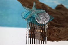 Turquoise Starfish with Sea Glass Bridal Comb/ Beach Comb