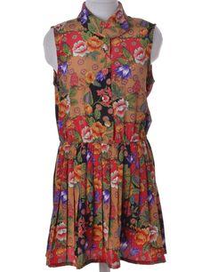 Beyond Retro Label Short Dress Multi-colour With A Round Neck