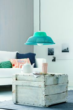 Love the recycled coffee table and light