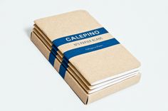 Logo and notebook with an uncoated unbleached covered designed by Studio Birdsall for French notebook brand and manufacturer Calepino.