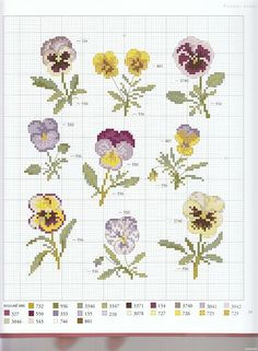 pansies  in cross stitch @Af's 30/1/13