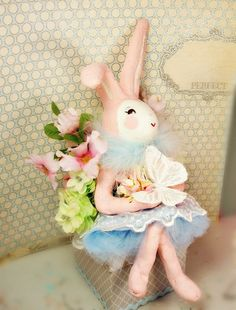 Bunny box bunny cake topper pastel pink and blue vintage retro inspired pink bunny rabbit paper clay ooak art doll