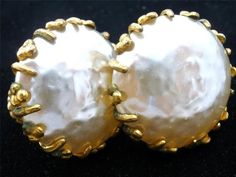 Vintage Haskell Earrings Baroque Pearl Signed Russian Gold Estate Large Miriam | eBay