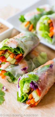 Homemade Fresh Summer Rolls with Easy Peanut Dipping Sauce - healthy, adaptable, and make a wonderful light dinner, lunch, or appetizer : Sallys Baking Addiction Vegetarian Recipes, Cooking Recipes, Healthy Recipes, Delicious Recipes, Sauce Recipes, Easy Thai Recipes, Healthy Thai Recipes, Cooking Corn, Thai Cooking