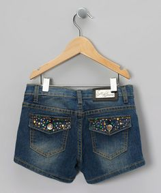 Take a look at this Blue Rainbow Rhinestone Denim Shorts by Miss Jeans on #zulily today!
