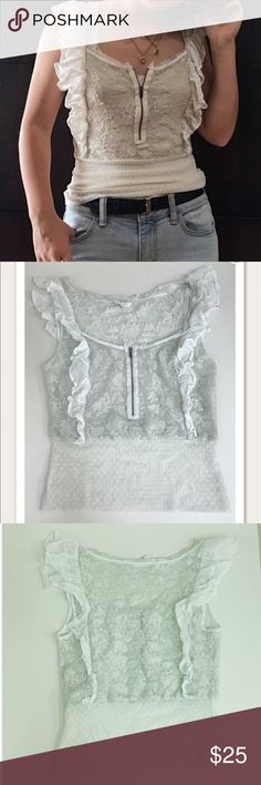 Free People Lace Sleeveless Top Free People size 8 off-white lace sheer peasant top with zipper detailing. Perfect style for summer to pair with a cute mini or capris. Good condition, ask if any questions! Remember to use the offer button or bundle with other cute items and build an outfit for a discount! Free People Tops