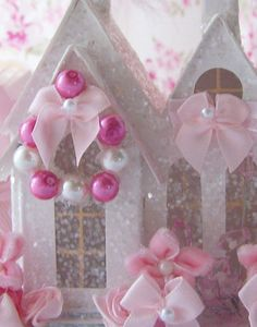 Shabby Chic Pink Christmas Village House by Oliviasromantichome,