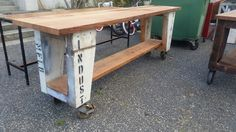 Vintage industrial recycled timber bench
