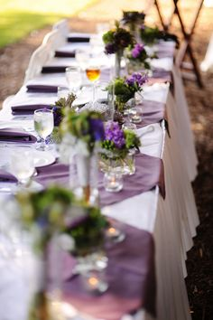 Purple & green reception details.