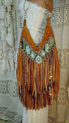 1aabf732f41 Handmade Brown Tan Suede Fringe Shoulder Bag Hippie Gypsy Boho Hobo Purse  tmyers  Handmade