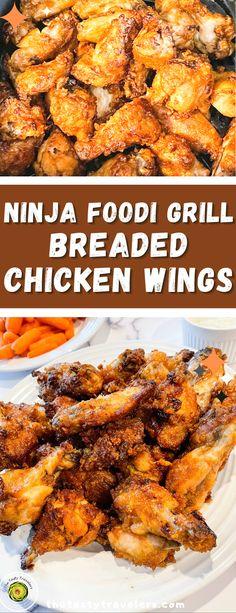 """We all love chicken wings! Who doesn't? This recipe covers details for making """"breaded wings"""". Cooking chicken wings shouldn't be complicated. Making them in a NINJA FOODI GRILL XL can be simple, with less mess to clean up! For this recipe for Ninja Foodi Breaded Wings, we used our favorite breading from Hooters. #BreadedChickenWings #GrilledChickenWings #ChickenWingsRecipe Breaded Chicken Wings, Cooking Chicken Wings, Grilled Bread, Recipe Cover, Cook At Home, Love Is All, Ninja, Grilling, Easy Meals"""