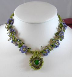 Sweet Pea  Beaded Necklace with Glass Cabochon by LaurenElise, $140.00