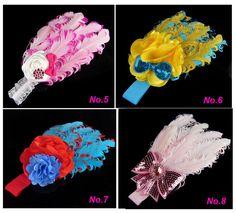 34! Promocional! Bebê faixa de cabelo infantil criança pena flor de diamante Headband Headwear