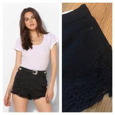 "BDG Dree Black High Rise Cheeky Shorts w/ Crochet Super short cheeky shorts with crochet accent on legs. Actual waist measurement, lying flat is 14"". BDG for Urban Outfitters. Urban Outfitters Shorts"