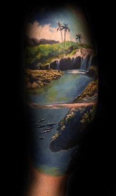 Waterfall tattoo with little fish swimming underneath scenic tattoo 1 Tattoo, Leg Tattoos, Body Art Tattoos, Tattoos For Guys, Tatoos, Symbolic Tattoos, Unique Tattoos, Beautiful Tattoos, Aquatic Tattoo