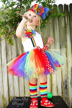 Custom boutique clown carnival tutu costume...birthday parties,,photo shoot...pagents..., 3 6 9 12 24 months... 2t 3t 4t 5t. $75.00, via Etsy.