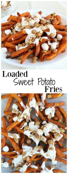 Crispy sweet potato fries drizzled with marshmallow fluff & topped with granola, butterscotch chips, and cinnamon.