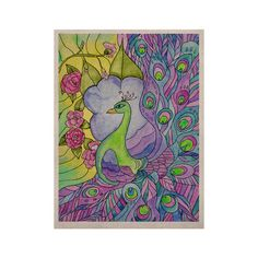 """Catherine Holcombe """"Stained Glass Watercolor Peacock"""" Purple Green KES 