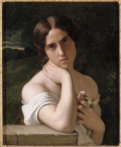 "Hippolyte Flandrin: ""Etude de femme"", 1848, oil on canvas, Height: 0.61 mLength: 0.51 m, Nantes, musée des Beaux-Arts."