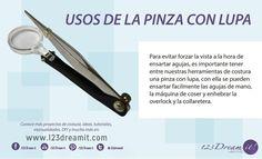 Les compartimos esta herramienta súper útil en nuestro taller, la pinza con lupa es ideal para ensartar agujas de todo tipo, ya la conocías?