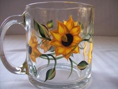 Coffee Mug hand painted with sunflowers by Morningglories1 on Etsy, $12.00
