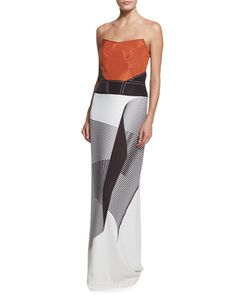 I'm a fan of the structure, but not the color scheme/design. Spiral-Print Strapless Cady Gown, Smoky Umber/Ivory by Carolina Herrera at Neiman Marcus.