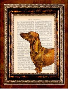 http://www.etsy.com/listing/77154202/dachshund-color-art-print-on-antique?ref=v1_other_2 #Dachshund #Puppy