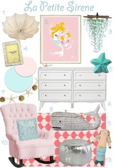 La Petite Sirene Nursery Inspiration Board - pink and aqua, pale blue, mermaid, baby girl, nursery, sweet, under the sea, starfish, adorable, pottery barn kids, land of nod, inpired.