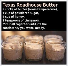 Make and share this Texas Roadhouse Butter recipe from Genius Kitchen. Make and share this Texas Roadhouse Butter recipe from Genius Kitchen. Texas Roadhouse Butter, Texas Roadhouse Rolls, Texas Roadhouse Recipes, Texas Roadhouse Steak Seasoning, Texas Roadhouse Sweet Potato Recipe, Texas Roadhouse Cinnamon Honey Butter Recipe, Copy Cat Texas Roadhouse, Honey And Cinnamon, Think Food