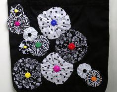 Yo-Yo Flower Embellished Denim Tote Bag Valentine by VioletBows