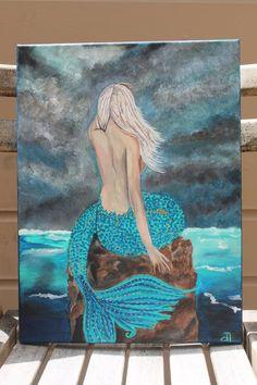 RESERVE for Juanita Mermaid Lady Portrait Acrylic Painting Seascape Figure Solitude Woman Ocean Sea Art Abstract Contemporary Mystical