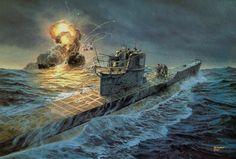 Serangan U-Boat Jerman ke kapal Konvoi Sekutu Military Art, Military History, Poder Naval, German Submarines, Naval History, Women's History, British History, Ancient History, American History