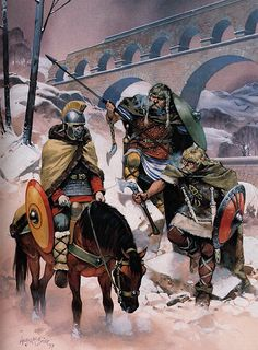 """Franks confront frozen Roman, northern France, 4th century AD"", Angus McBride"