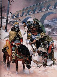 """Franks confront frozen Roman, northern France, 4th century AD"", Angus McBride"