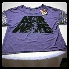 Star Wars purple shirt by Disney Comfortable to wear, silver sequence on sleeves. Tops Tees - Short Sleeve
