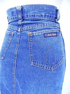 Calvin Klein Jean Skirt Sz XS High Waisted Pencil Vintage 80s Denim Modest  #CalvinKlein