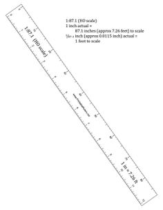 This ruler in HO scale (1:87.1 scale) is great for use by model railroad enthusiasts, doll house builders, and all other hobbyists. Free to download and print