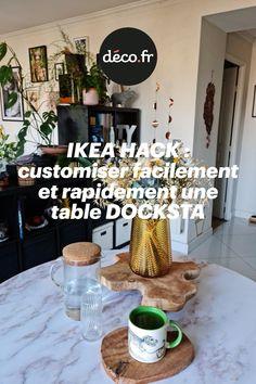 Si vous êtes l'heureux ou l'heureuse propriétaire d'une table Ikea DOCKSTA, ce DIY va beaucoup vous plaire... En effet, nous vous proposons, au travers d'un IKEA HACK astucieux, d'apprendre à personnaliser votre table pour changer rapidement son style. Au cours de ce tuto déco, vous allez découvrir comment obtenir une table marbrée, simplement avec un sticker ! Table Ikea, Diy, Style, Swag, Bricolage, Do It Yourself, Homemade, Diys, Outfits