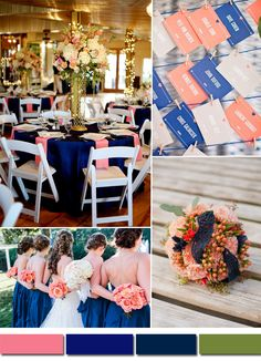 royal blue and coral pink wedding color ideas and wedding decoration trends
