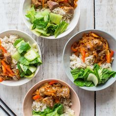 Vietnamese Caramelised Pork Bowls with Brown Rice and Bok Choy